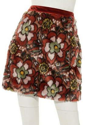 Lily Brown (リリー ブラウン) - Lily Brown ジャガードファー台形スカート リリーブラウン スカート