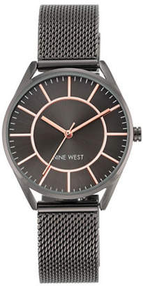 Nine West Analog Black Stainless Steel Watch