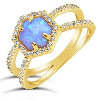 Sterling Forever 14K Gold Sterling Silver Created Blue Opal Double Band CZ Ring