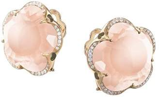 Pasquale Bruni 18K Rose Gold Bon Ton Rose Quartz & Diamond Floral Earrings