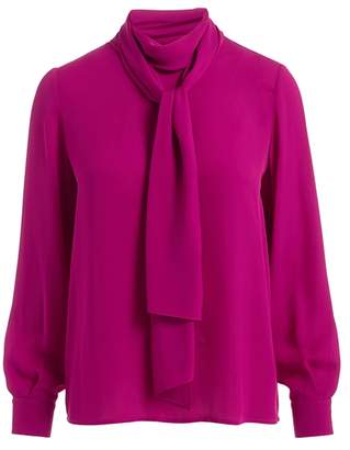 Wolf & Badger Ida Pink Scarf Silk Blouse