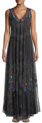 Johnny Was V-Neck Sleeveless Embroidered Mesh Maxi Dress