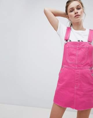 Bershka dungaree dress in pink