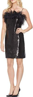 Vince Camuto Feather Detail Sequin Dress