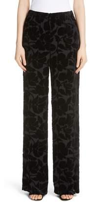 St. John Wide Leg Burnout Velvet Pants