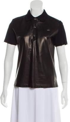 Salvatore Ferragamo Short Sleeve Leather Top