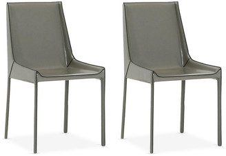 One Kings Lane Set of 2 Conrad Side Chairs - Cappuccino Leather