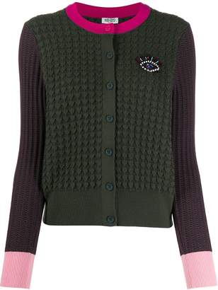 Kenzo embroidered Eye colour-block cardigan