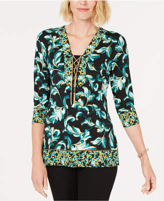 JM Collection Twin-Print Lace-Up Tunic, Created for Macy's