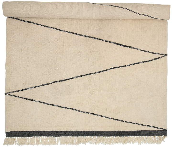 Bloomingville - Wollteppich 300 x 200 cm, Zickzackmuster, Beige / schwarz