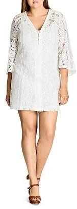 City Chic Plus Mixed Lace Dress