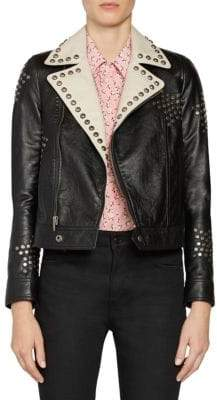 Saint Laurent Two-Tone Leather Studded Moto Jacket