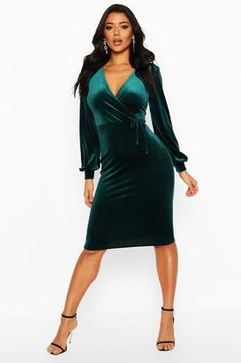 boohoo Velvet Long Sleeve Bodycon Midi Dress