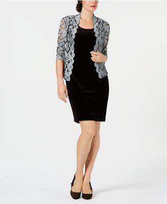 Jessica Howard Velvet Dress & Glitter Lace Jacket