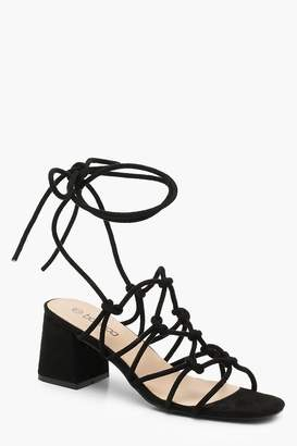 boohoo Cage Wrap Strap Low Block Heels