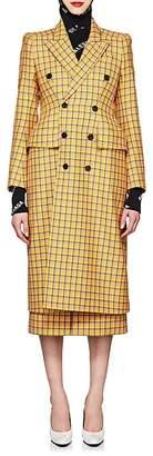 Balenciaga Women's Hourglass Checked Virgin Wool Double-Breasted Coat