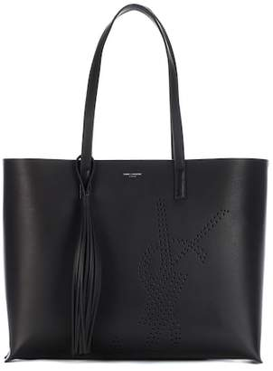 Saint Laurent Shopper Large Logo Perforated tote