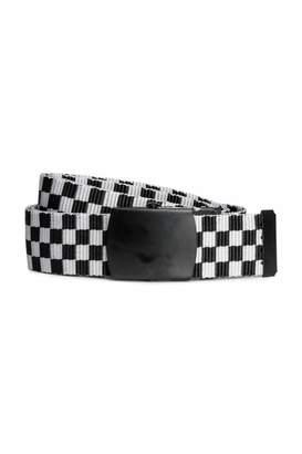 H&M Fabric Belt - White/black checked - Men