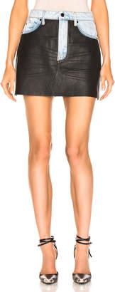 Alexander Wang Bite Leather Combo Skirt in Bleach & Black | FWRD
