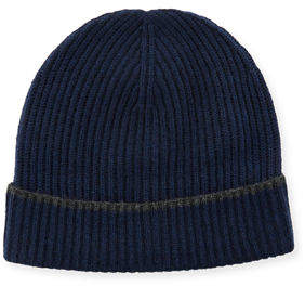 Neiman Marcus Cashmere Tipped Ribbed Knit Beanie