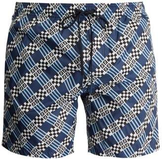 Fendi Logo And Geometric Print Swim Shorts - Mens - Blue Multi