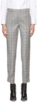 Calvin Klein Black and White Classic Glen Plaid Wool Trousers