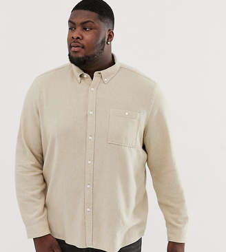 Asos Design DESIGN Plus washed twill overshirt ecru