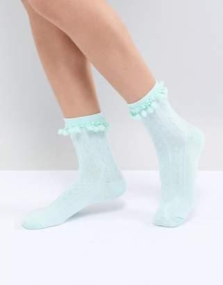 Asos DESIGN Pom Pom Ankle Socks In Mint