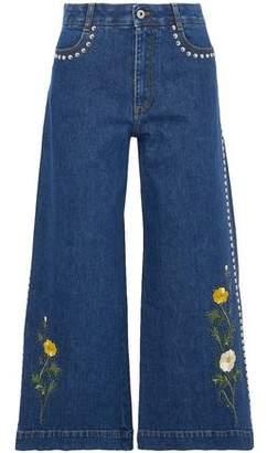 Stella McCartney Embroidered Studded Denim Culottes