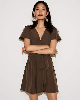 Express Tie Front Flutter Sleeve Fit And Flare Dress