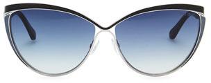 Jimmy Choo Polly Leather-Trim Cat-Eye Sunglasses, Ruthenium/Blue