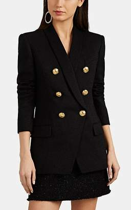 Balmain Women's Glittery Wool Double-Breasted Blazer - Black