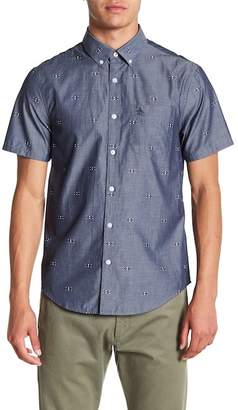 Original Penguin Chambray Argyle Short Sleeve Slim Fit Shirt