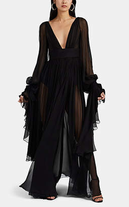 Saint Laurent Women's Silk Exaggerated-Sleeve Wrap Gown - Black