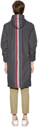 Thom Browne Hooded Reflective Stripes Cotton Parka