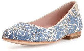 Taryn Rose Bud Floral-Embellished Ballerina Flat, Jean/Bone $259 thestylecure.com