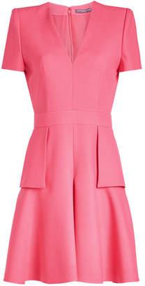Alexander McQueen V-Neck Peplum Dress