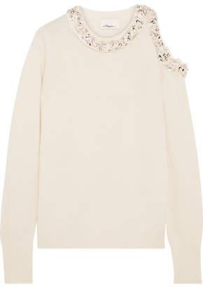 3.1 Phillip Lim - Cold-shoulder Embellished Silk-jersey Sweater - Cream