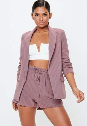 Missguided Pinstripe Gathered Waist Shorts
