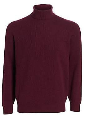Brunello Cucinelli Men's Rib-Knit Wool, Silk& Cashmere Turtleneck Sweater