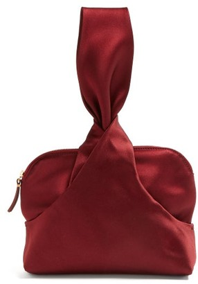 The Row Knotted Silk Satin Wristlet Clutch - Womens - Burgundy