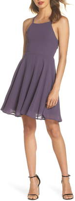LuLu*s Good Deeds Lace-Up Skater Minidress