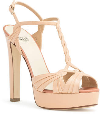 Francesco Russo Nude braided leather platform sandals