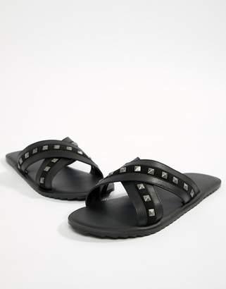 Asos DESIGN Sandals In Black With Studs
