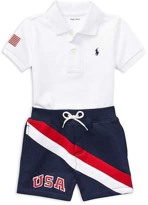 Ralph Lauren Boys' Mesh Polo & USA Shorts Set - Baby