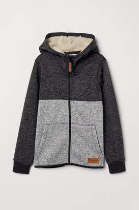 H&M Fleece-lined Hooded Jacket - Gray