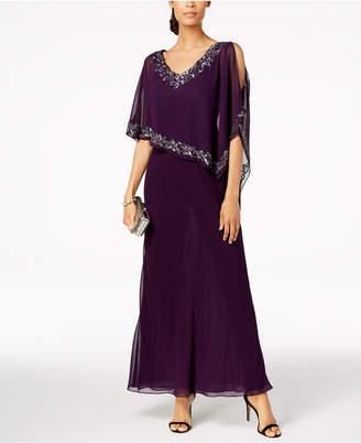 J Kara Embellished Cold-Shoulder Cape Dress