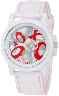 Sprout Women's ST/5502MPWT Organic Cotton Straps Diamond Accented Printed Dial White Cotton Strap Watch
