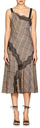 Prabal Gurung Women's Lace-Trimmed Checked Twill Slipdress