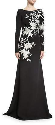 Naeem Khan Floral-Embroidered Long-Sleeve Gown, Black/White